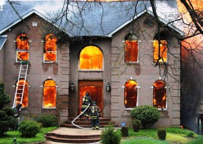 image of a house on fire